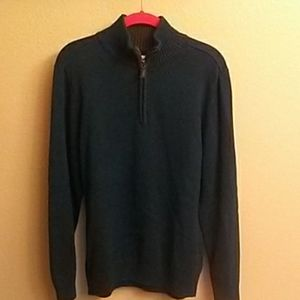 Haggar Men's Deep Teal Zip Up Sweater M